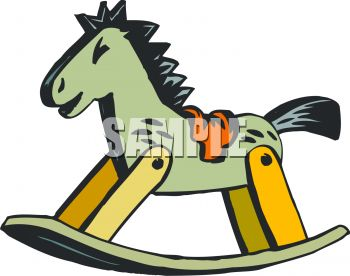 Picture of a Wooden Rocking Horse In a Vector Clip Art.