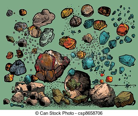 Clip Art Vector of flying rocks and stones isolated on light.