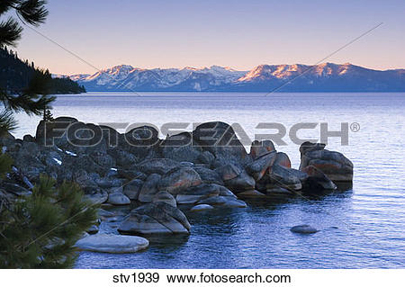 Stock Photograph of Rocks on the east shore of Lake Tahoe on a.