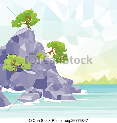 EPS Vector of rocks sea shore with tree polygon graphic vector.