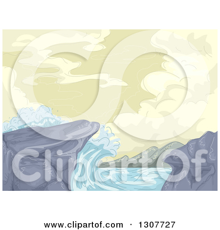 Clipart of a Sketch of Waves Crashing into Rocks on the Shore.