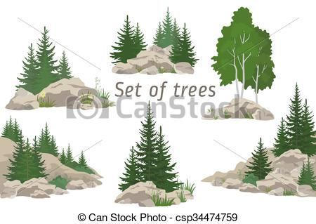 Clipart Vector of Landscapes with Trees and Rocks.