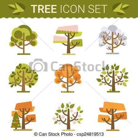 Vector Clip Art of Set of different trees, rocks, grass. Sprites.