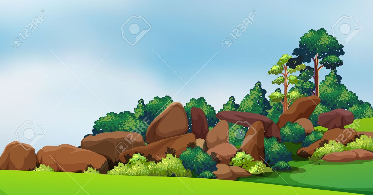 Illustration Of A Forest With Big Rocks Royalty Free Cliparts.
