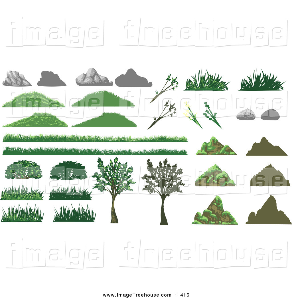 Clipart of a Array of Different Styled Boulders, Rocks, Grass.