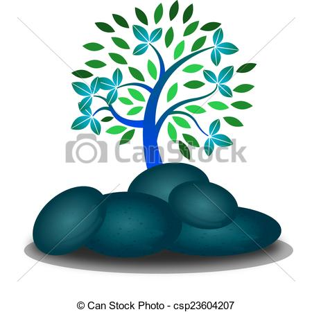 Clipart Vector of Rocks at the forest.