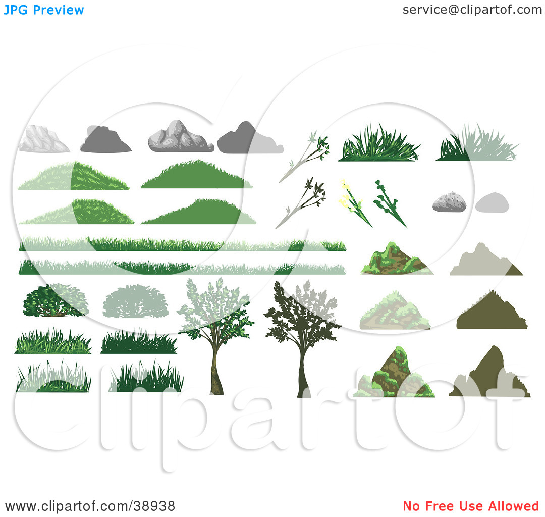 Clipart Illustration of Boulders, Rocks, Grass, Plants And Trees.