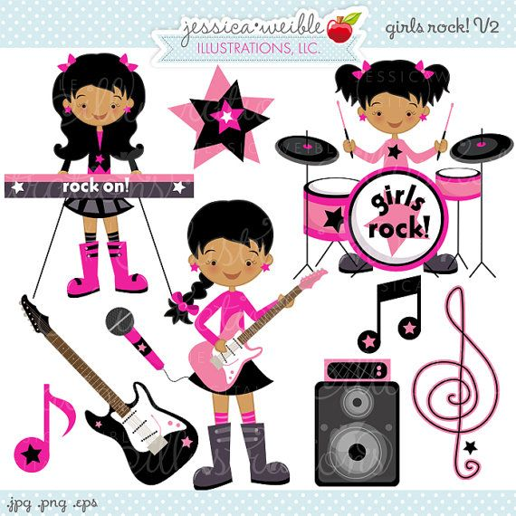 Dark Girls Rock Cute Digital Clipart.