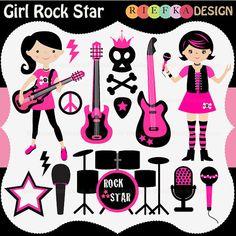 INSTANT DOWNLOAD Rock Star Girl Digital Clipart / by kikaesteves.