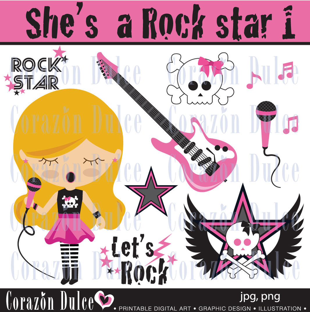 INSTANT DOWNLOAD She's a Rockstar 1 clipart Personal and.