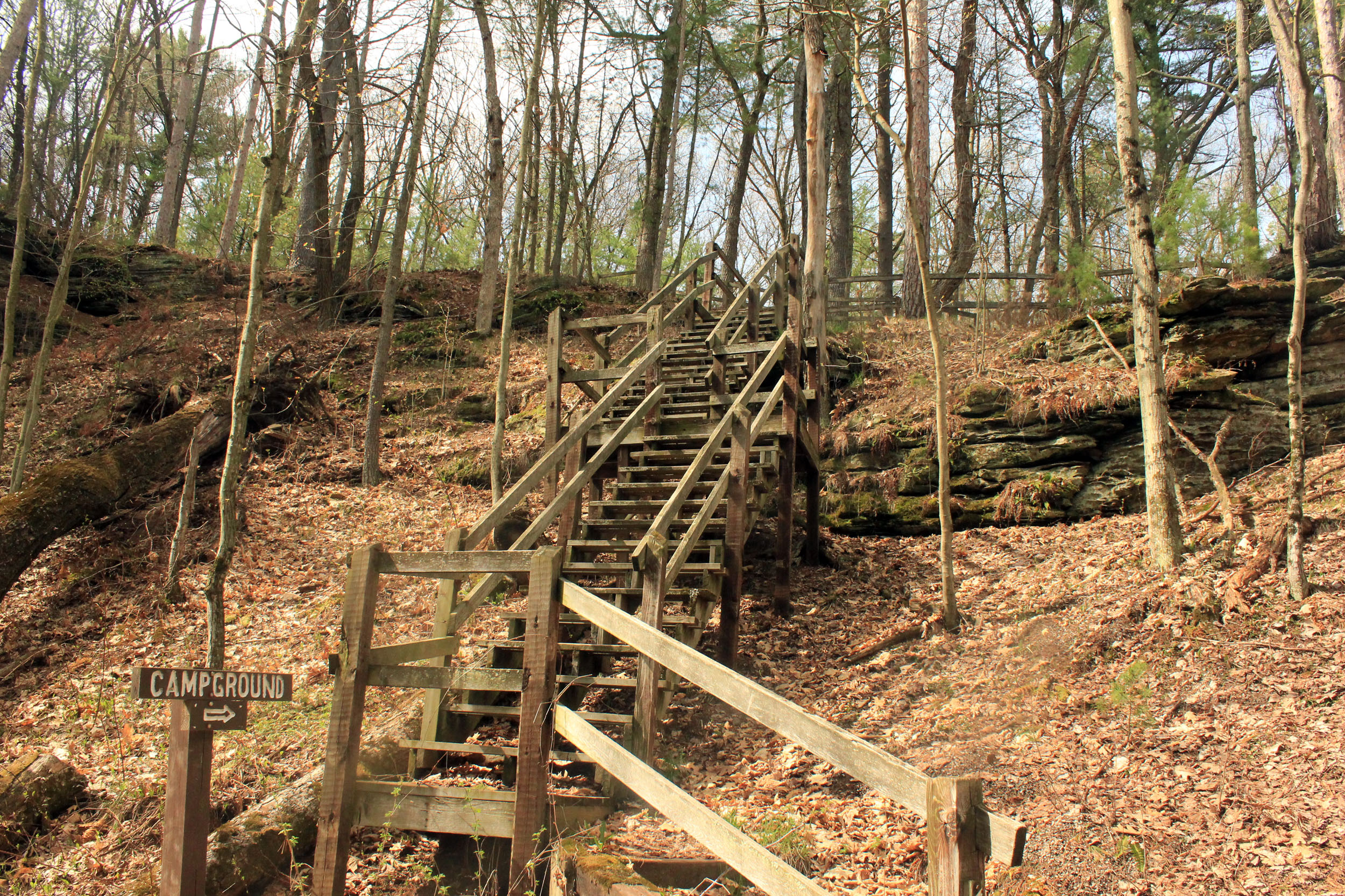 Staircase at Rocky Arbor State Park, Wisconsin.