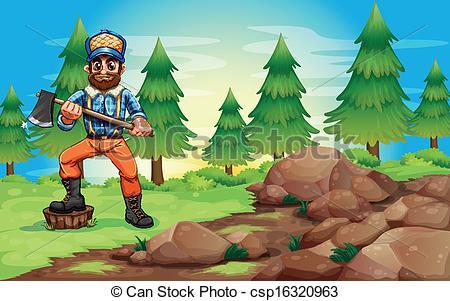Clip Art Vector of A woodman holding an axe near the rocky area.