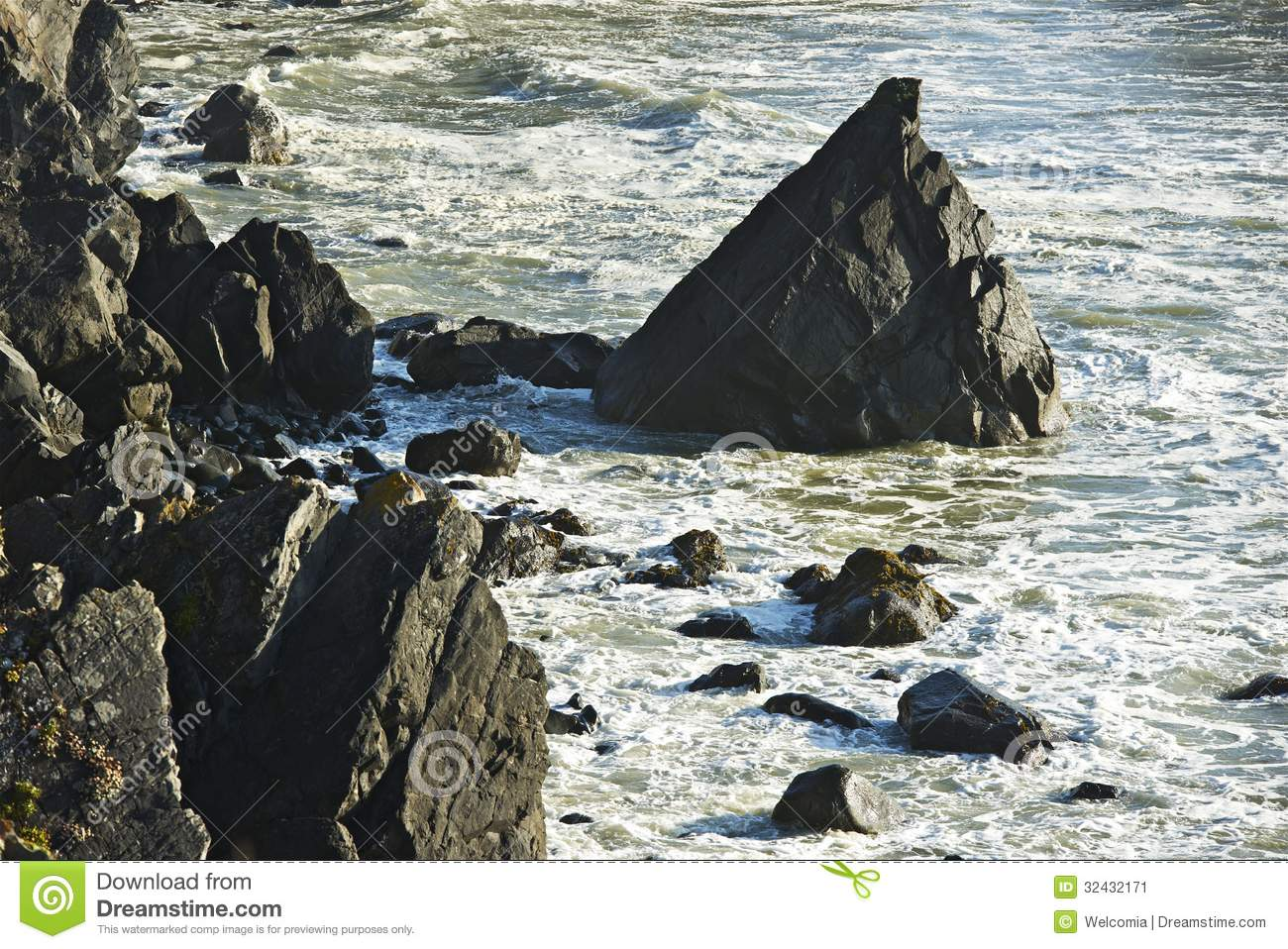 Rocky Shore Line Stock Image.
