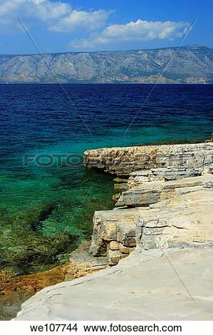 Stock Photo of Rocky coast of Kabal Peninsula north of Stari Grad.