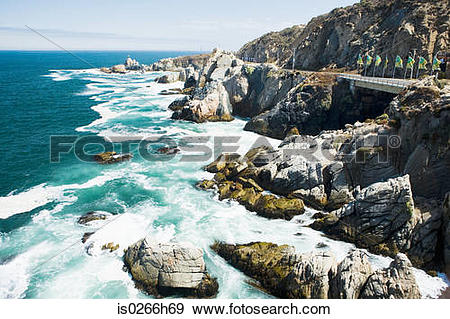 Stock Photograph of Rocky coast and pacific ocean in Chile.