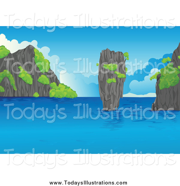 Clipart of a Rocky Coast Under a Blue Sky by colematt.