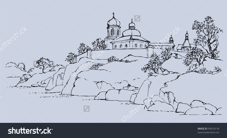 Vector Sketch Landscape On High Rocky Stock Vector 93414118.