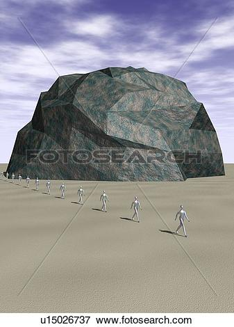 Stock Illustration of Figures of men passing in front of rocky.