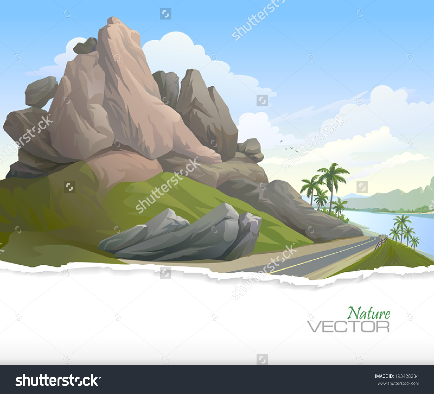 Road Between Rocky Hill Lake Palm Stock Vector 193428284.