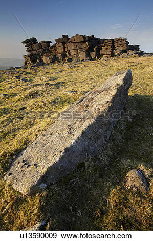 Stock Photograph of England, Devon, Dartmoor. Granite rocky.