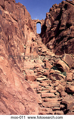 Stock Photography of Ancient Stairway up Rocky Outcrop Sinai Egypt.
