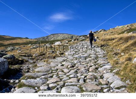 Senior Woman Walking Rocky Path Gredos Stock Photo 39705169.
