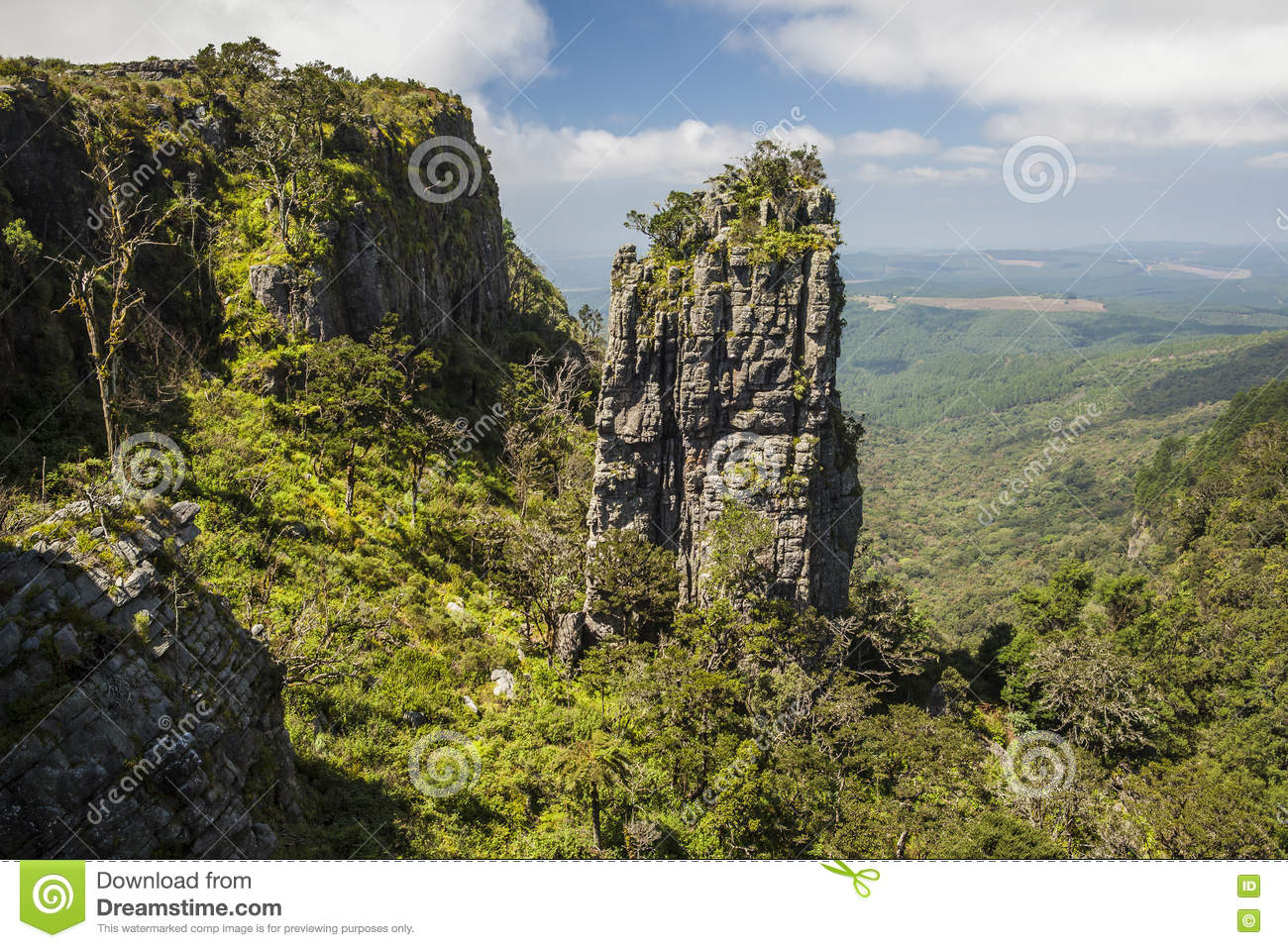 Pinnacle Rock Standing In Green Forested Gorge Stock Photo.