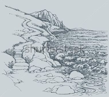 Rocky Seashore Clip Art.