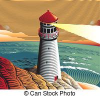 Vectors Illustration of Sea coast with rocky shore.