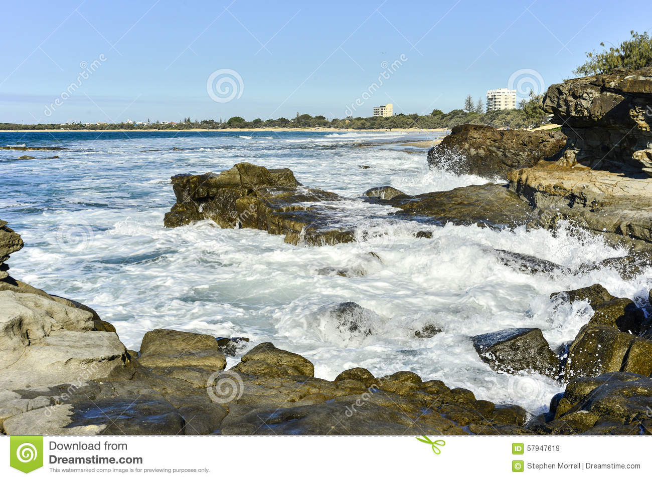 Rocky Shores Mooloolaba Queensland Australia Stock Photo.