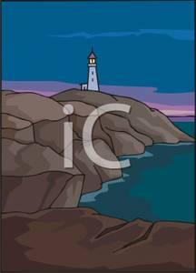 of a Lighthouse on a Rocky Shore.