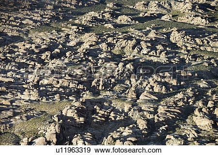 Stock Photograph of Aerial of rocky terrain in Alabama Hills.