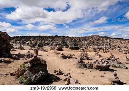 Pictures of Rocky towers in the Andine mountains in Colca, Peru.
