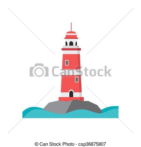 Vector Clipart of Sea lighthouse on a rocky island. Flat isolated.