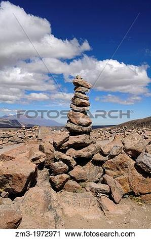 Stock Photography of Rocky tower in the Andine mountains in Colca.