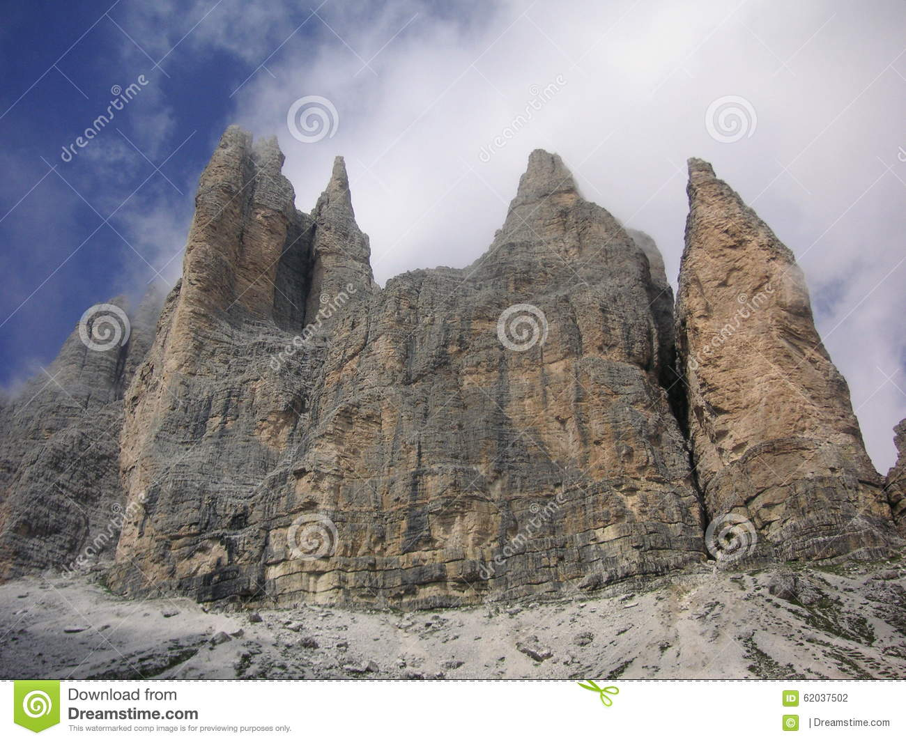 Rocky Cliff Towers Of Dolomites Stock Photo.