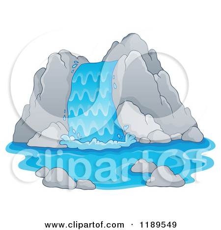 Cartoon of a Rocky Waterfall.