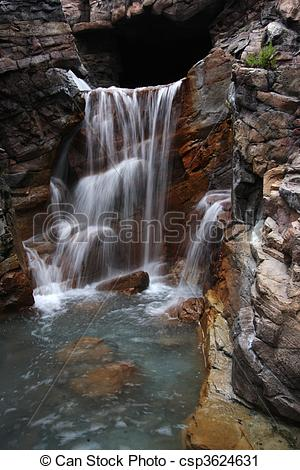 Stock Photography of Rocky waterfall.