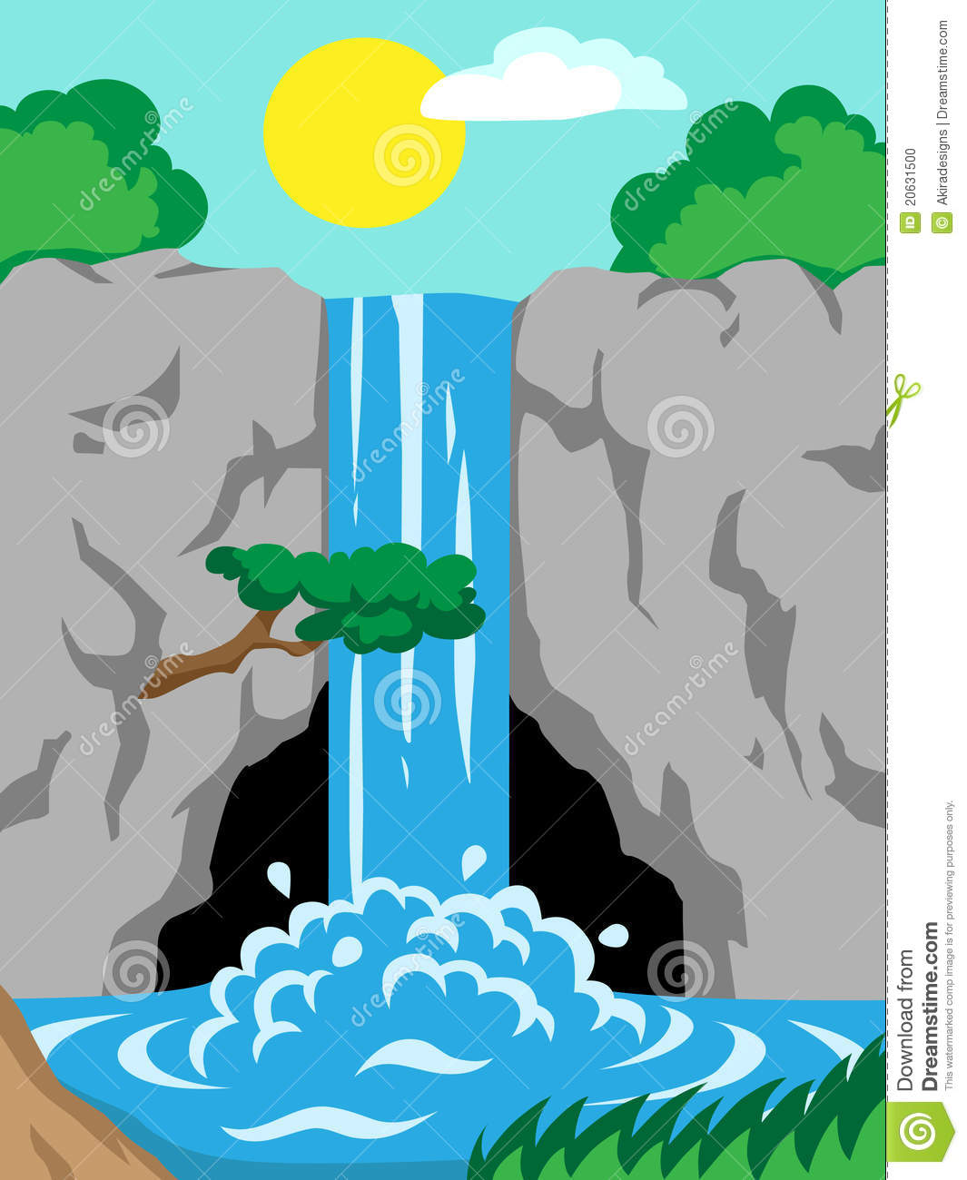 3d clipart of waterfall.