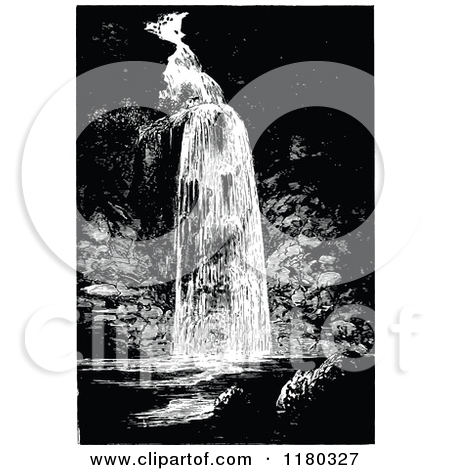 Clipart of a Retro Vintage Black and White Waterfall.