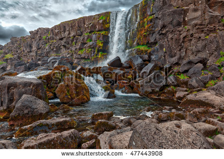 Dark Rocky Waterfall Stock Photos, Royalty.