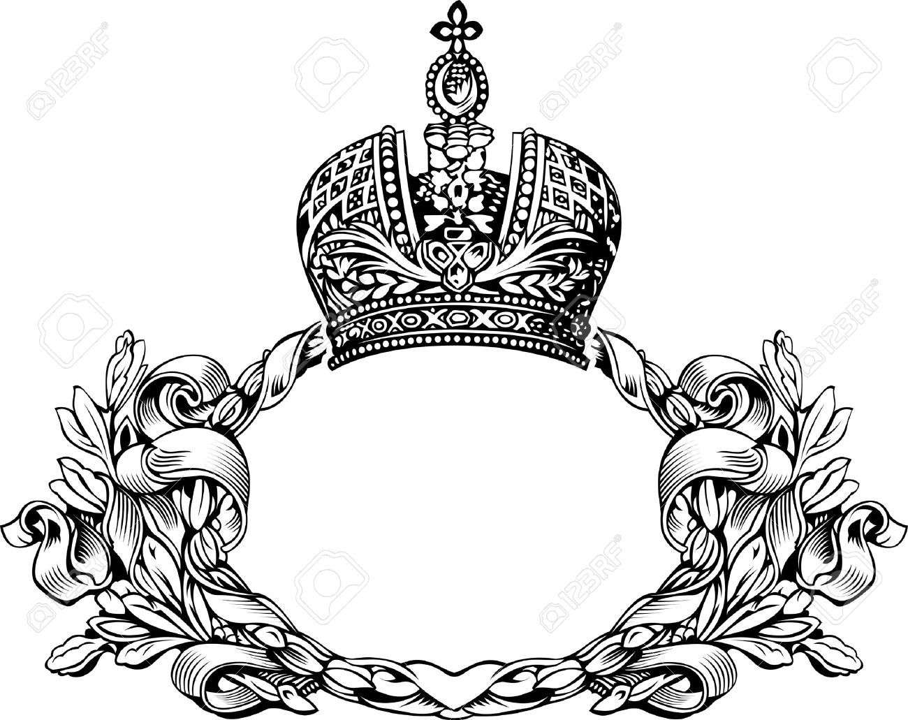 One Color Retro Elegant Royal Crown Curves Royalty Free Cliparts.