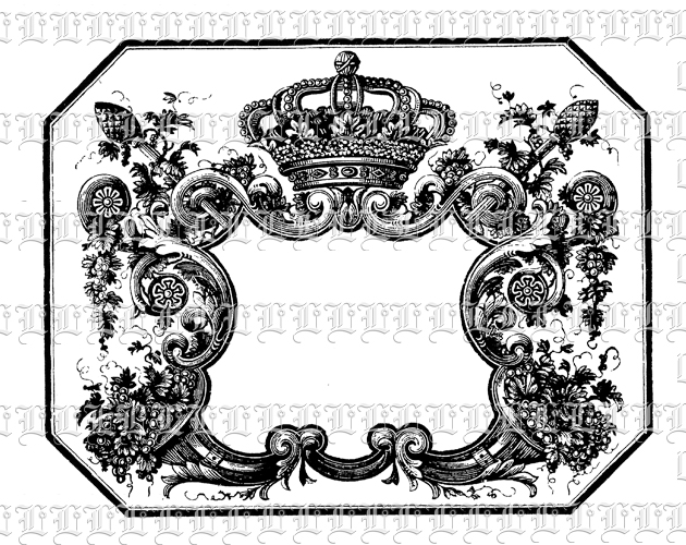 Antique Victorian Border Rococo Frame With Crown Vintage Clip Art.