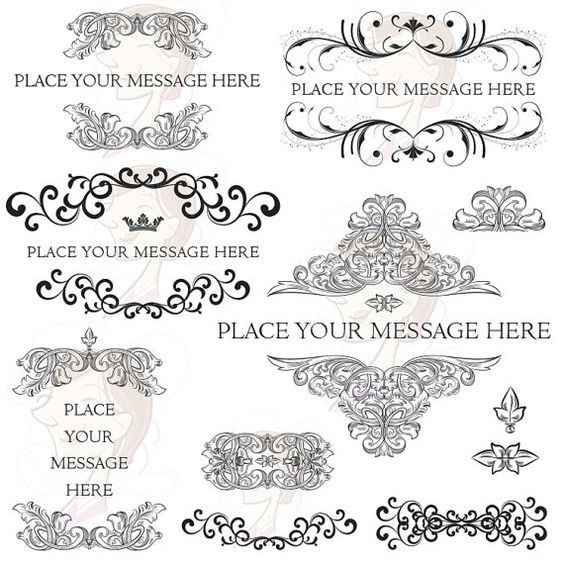 Flourish Border Clipart Digital Frame Baroque Rococo Swirls.