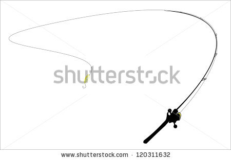 Black Fishing Rod Silhouette Concept Relaxation Stock Vector.