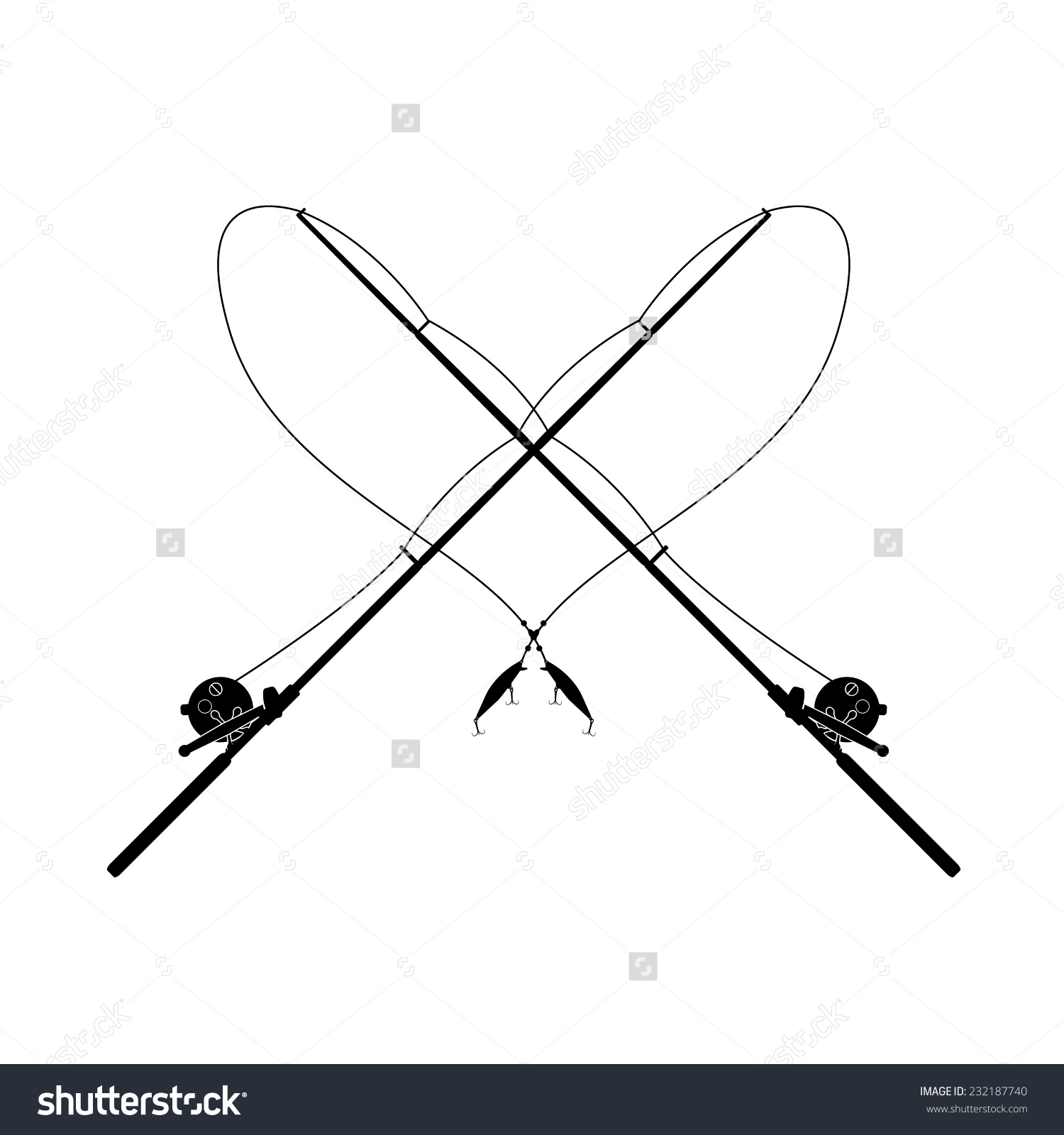 Isolated Fishing Rod Stock Vector 232187740.