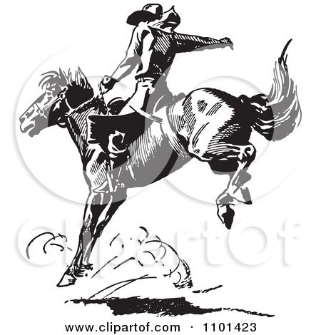 Clipart Retro Black And White Rodeo Cowboy On A Bucking.
