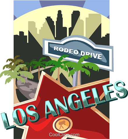 Los Angeles and Rodeo Drive Royalty Free Vector Clip Art.