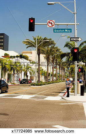 Stock Image of People walking on a street, Rodeo Drive, Los.
