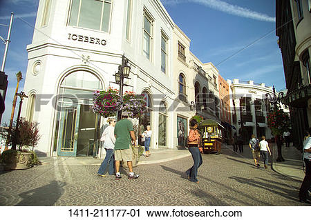 Stock Photography of Los Angeles Ca, Via Rodeo drive shops. 1411.